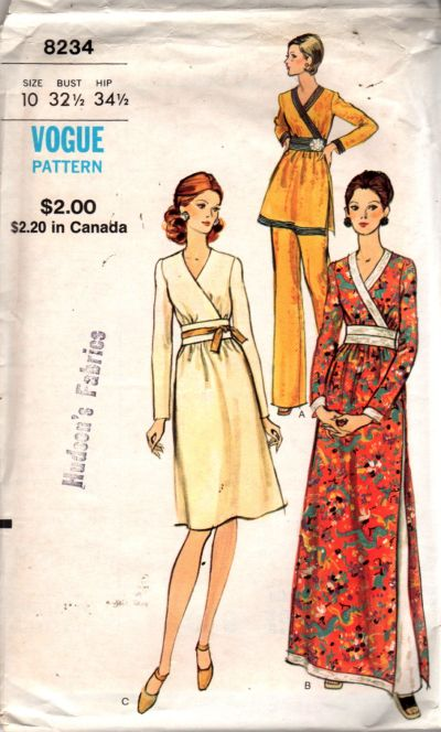 Vogue 8234 Vintage Sewing Pattern Ladies Dress Tunic Pants - VintageStitching - Vintage Sewing Patterns