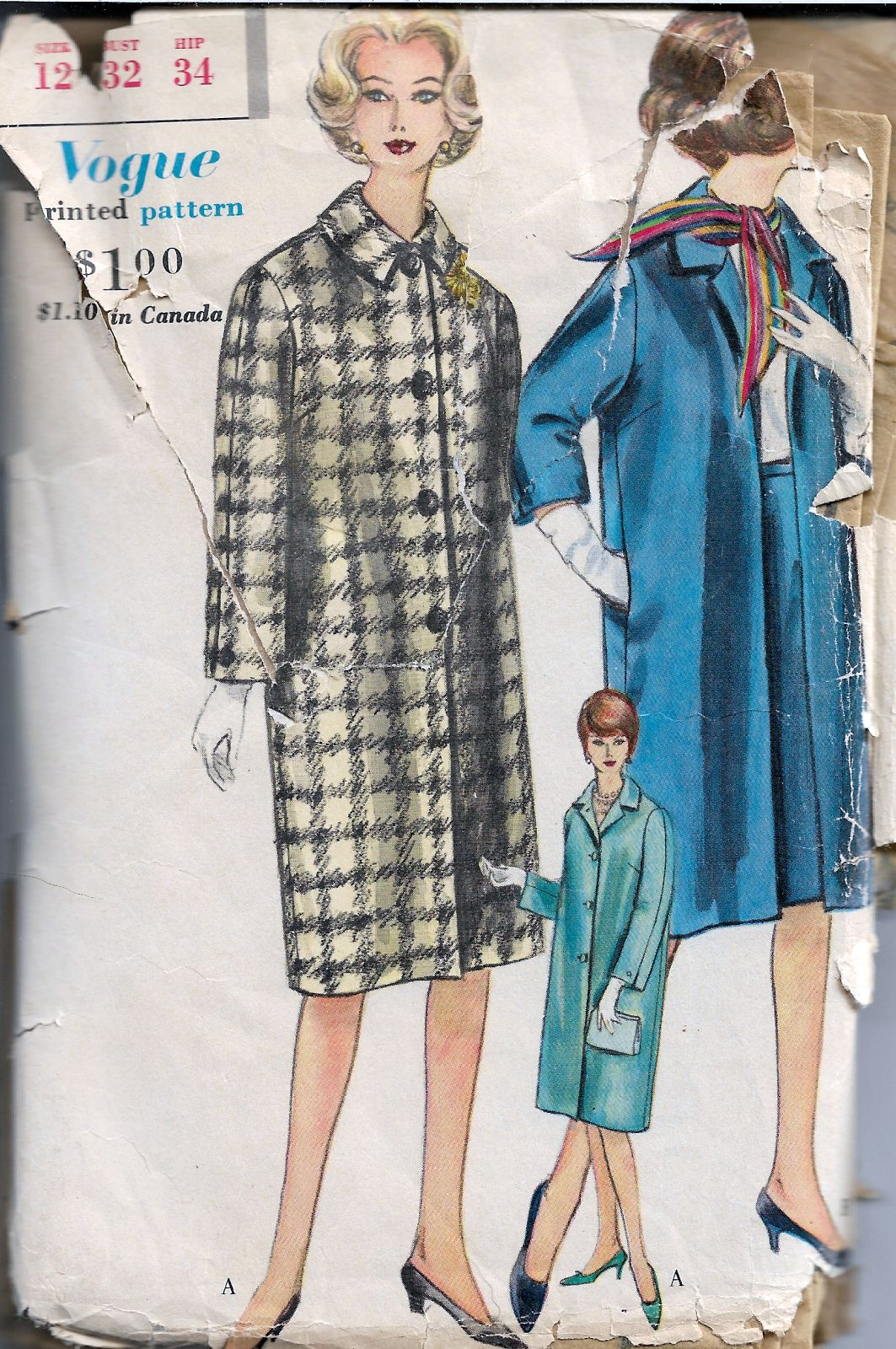 vogue 5209 ladies coat vintage pattern 1960s