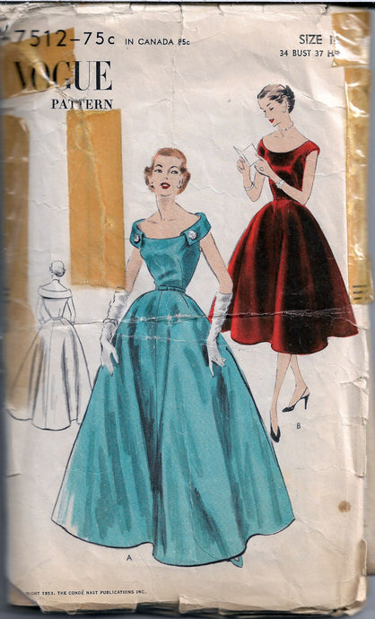 vogue 7512 vintage pattern evening gown