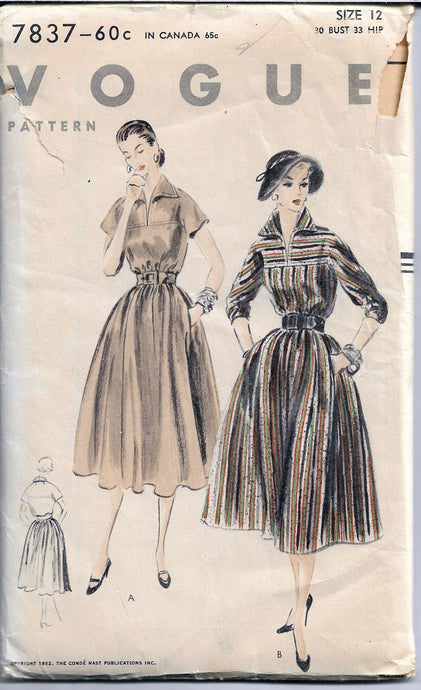 vogue 7837 ladies dress vintage sewing pattern 1950s