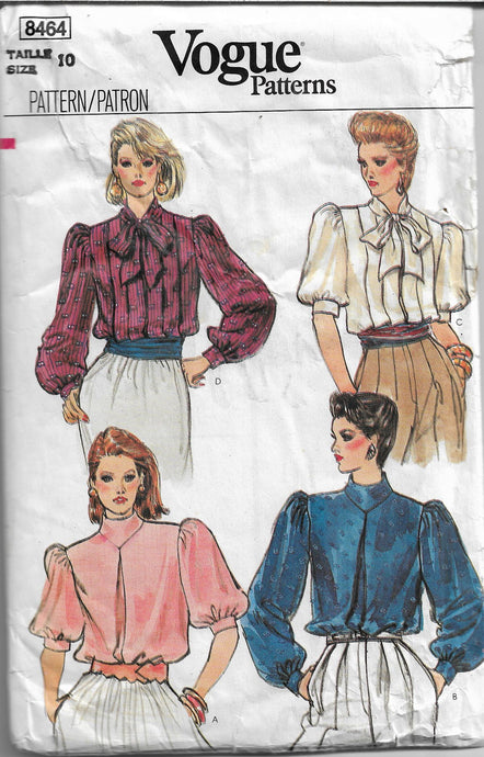 vogue 8464 blouse vintage pattern 1980s