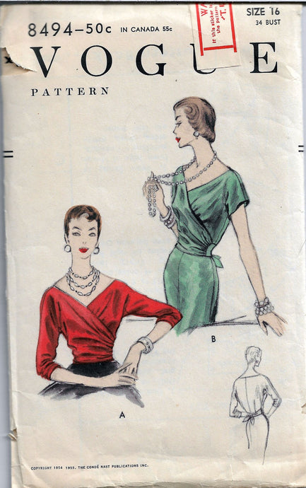 vogue 8494 vintage blouse pattern 1950s