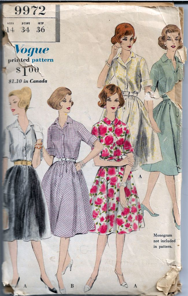 Vogue 9972 Ladies Shirtwaist Dress Vintage Sewing Pattern