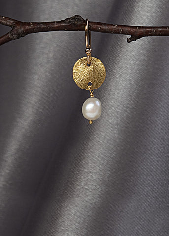 Vermeil 9mm disk, with pearl drop, 14k gold fill ear wire