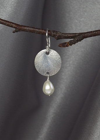 Sterling silver 14mm disk, with pearl drop