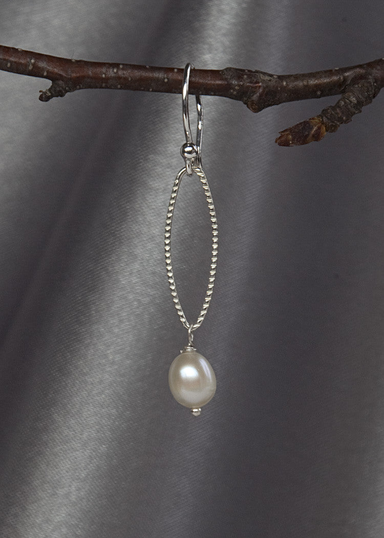 Sterling silver, and pearl drop