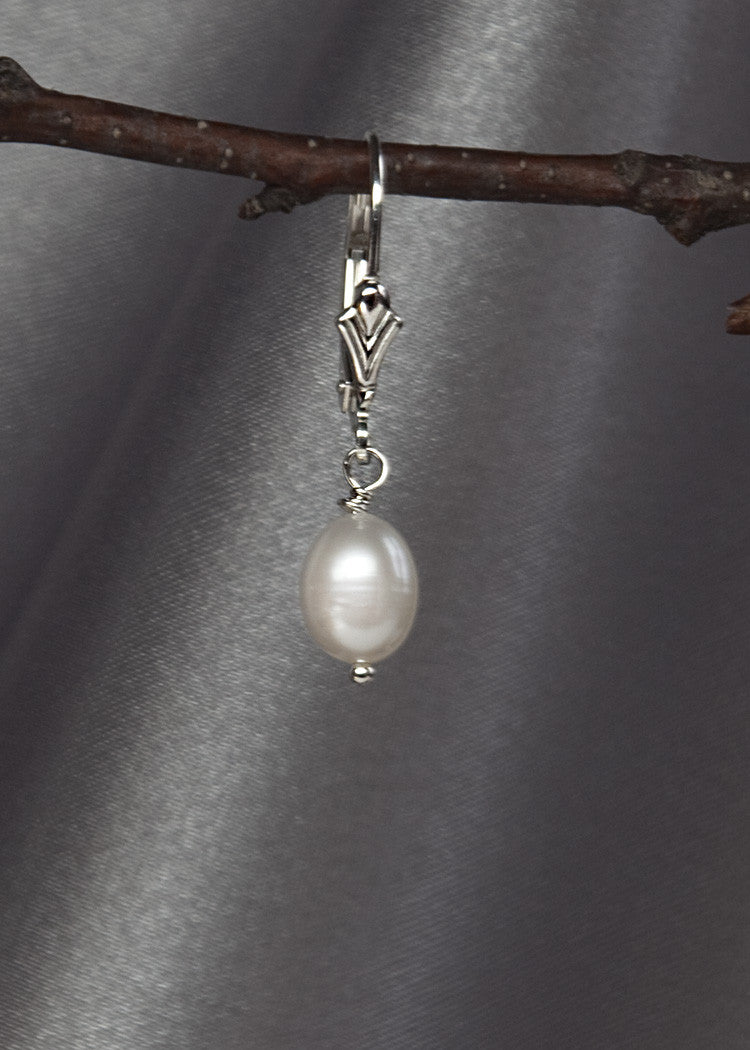 Tiny white pearl drop earring, sterling silver lever back ear wire
