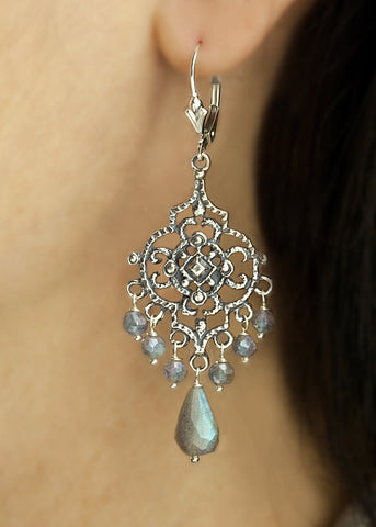 Sterling silver, labradorite, with lever back ear wire