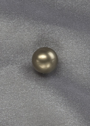 Round, olive green, 10mm shell pearl post earring with sterling silver post