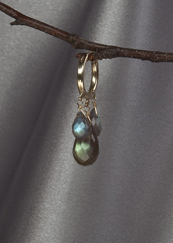14k gold fill hoop, with labradorite 3 drop earring