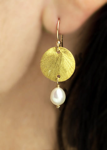 Vermeil 14mm disk with pearl drop, 14k gold fill ear wire