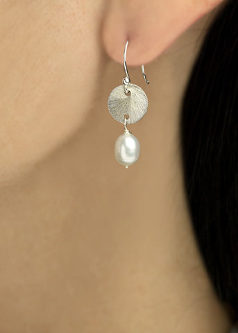 Sterling Silver 9mm disk, with pearl drop