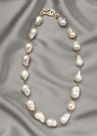 Baroque white 18-22mm pearls, connected with 14k gold fill wire, also available in sterling silver