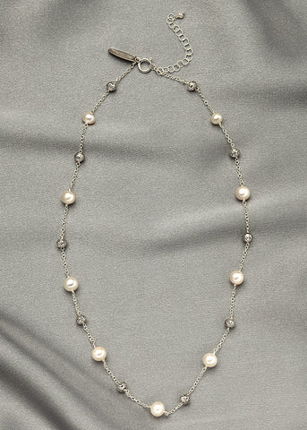 White pearls, with sterling silver beads, connected with sterling silver chain