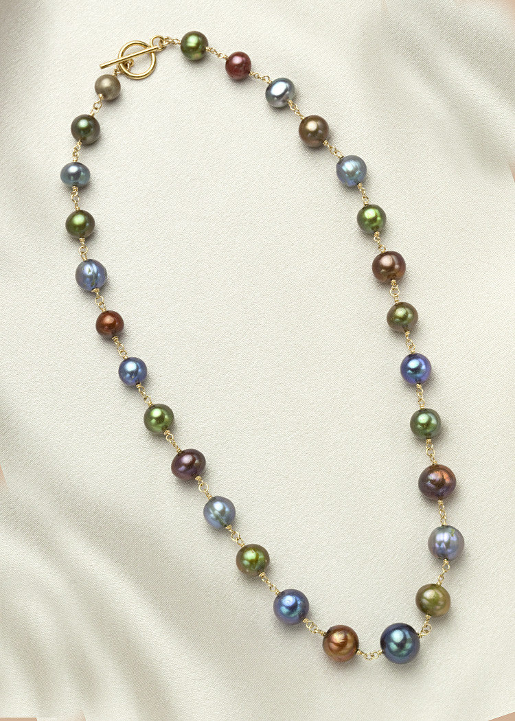 Blue, green, brown pearls, connected with 14k gold fill wire