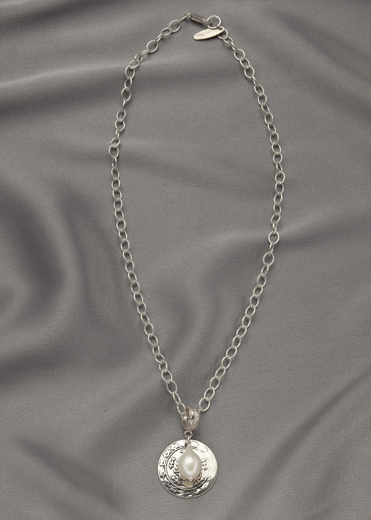 All sterling silver chain, reproduction of a Turkish Coin, and a sterling connecter with a white pearl drop