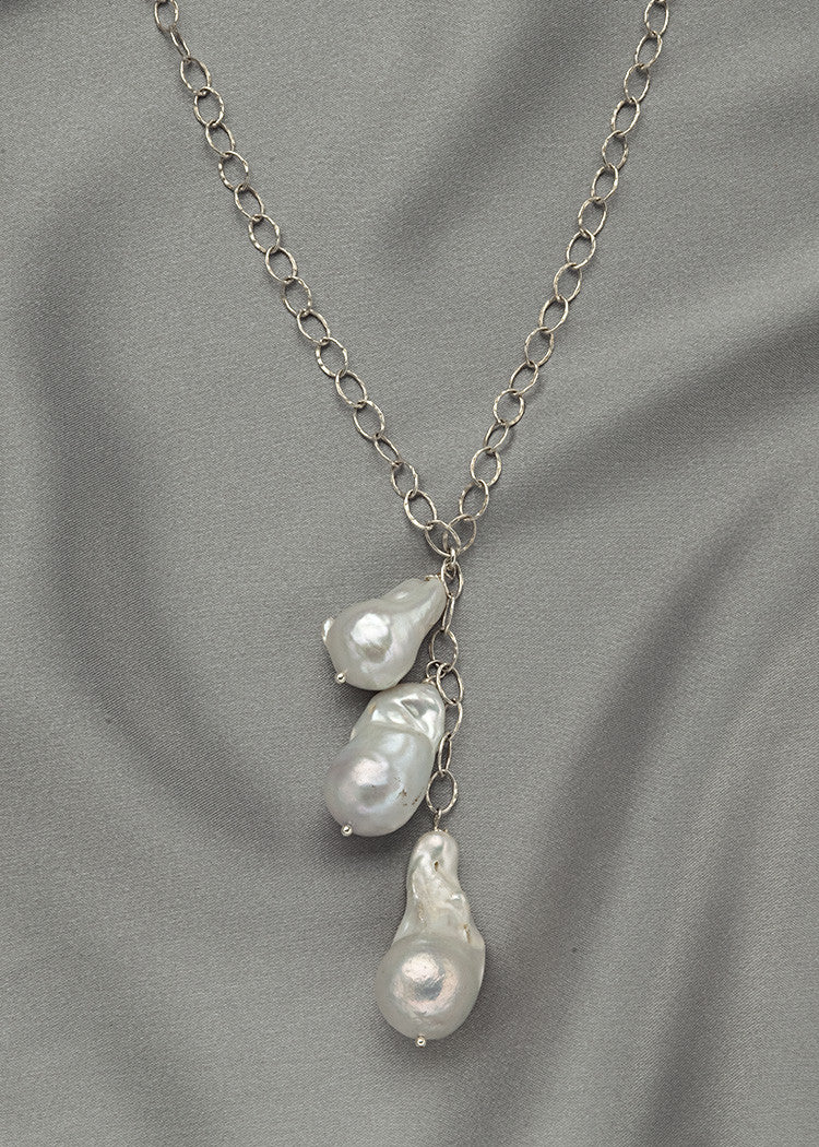 Unique sterling silver chain, with large, baroque, freshwater pearls