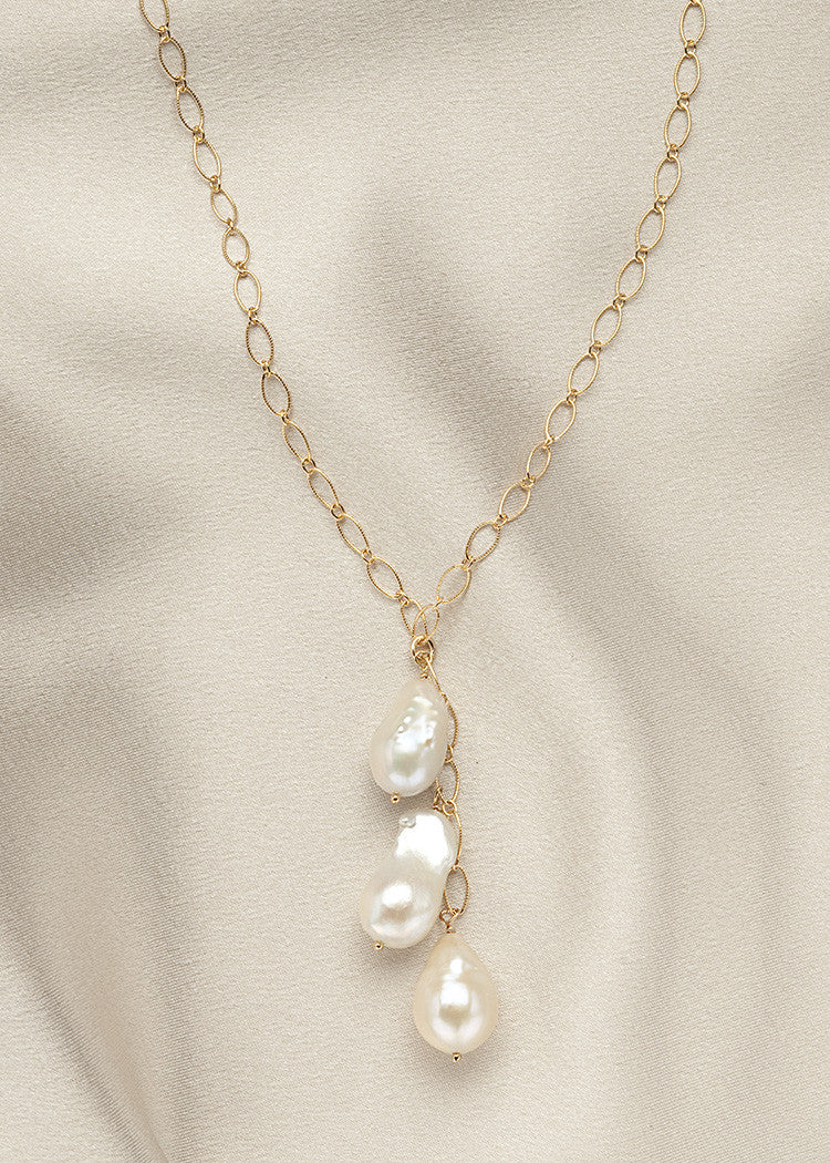 Graceful 14k gold fill chain, with smaller baroque pearls