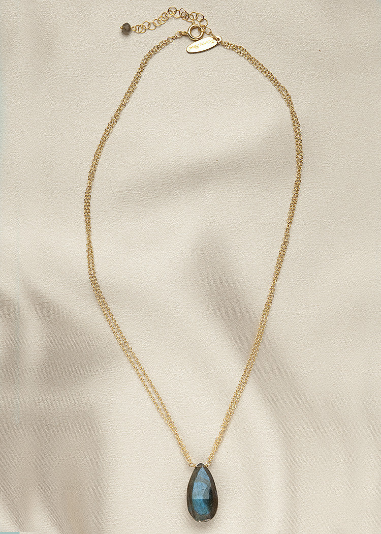 Striking Labradorite drop, on 2 strands of 14k gold fill chain