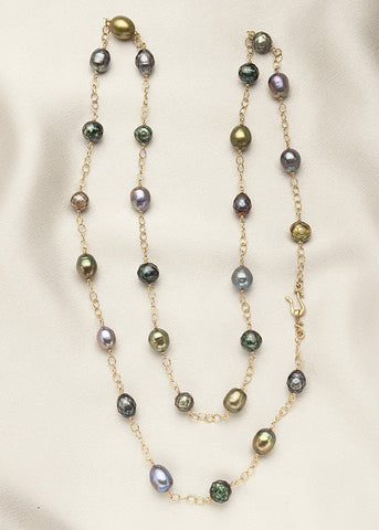 Magnificent blue, green, with faceted teal pearls, and 14k gold fill chain