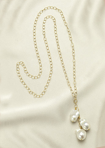 Unique 14k gold fill chain, with large baroque, freshwater pearls