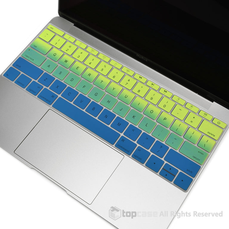 "Apple New Macbook 12"" Green & Blue Faded Ombre keyboard Cover Silicone Skin for Macbook 12-inch with Retina Display Model A1534 Newest Version 2015 - TOP CASE"