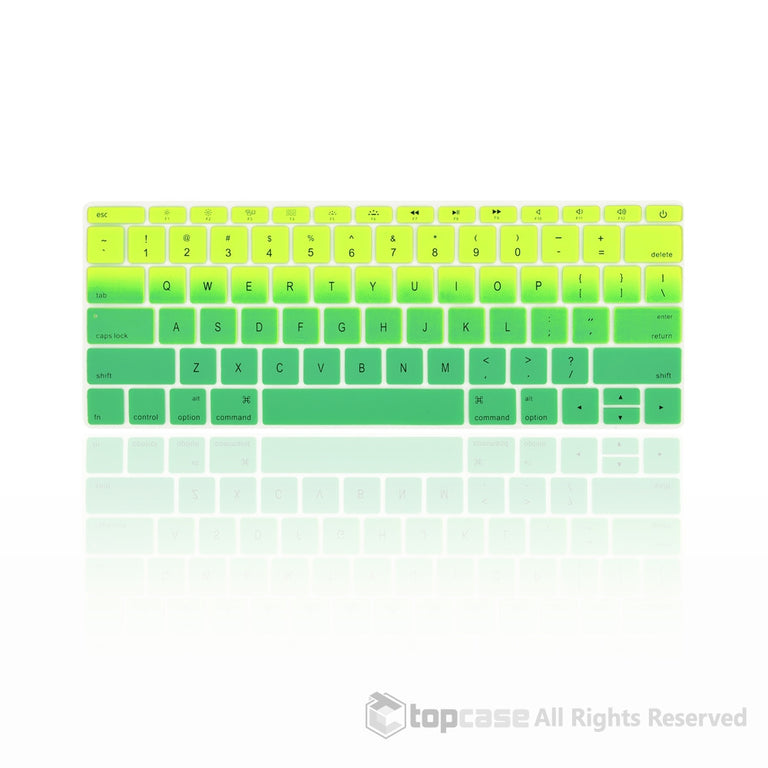 "Topcase Apple Macbook 12"" Light Green & Green Faded Ombre keyboard Cover for Macbook 12-inch with Retina Display Model A1534 / MacBook Pro 13 inch A1708 (No TouchBar) Release 2016"
