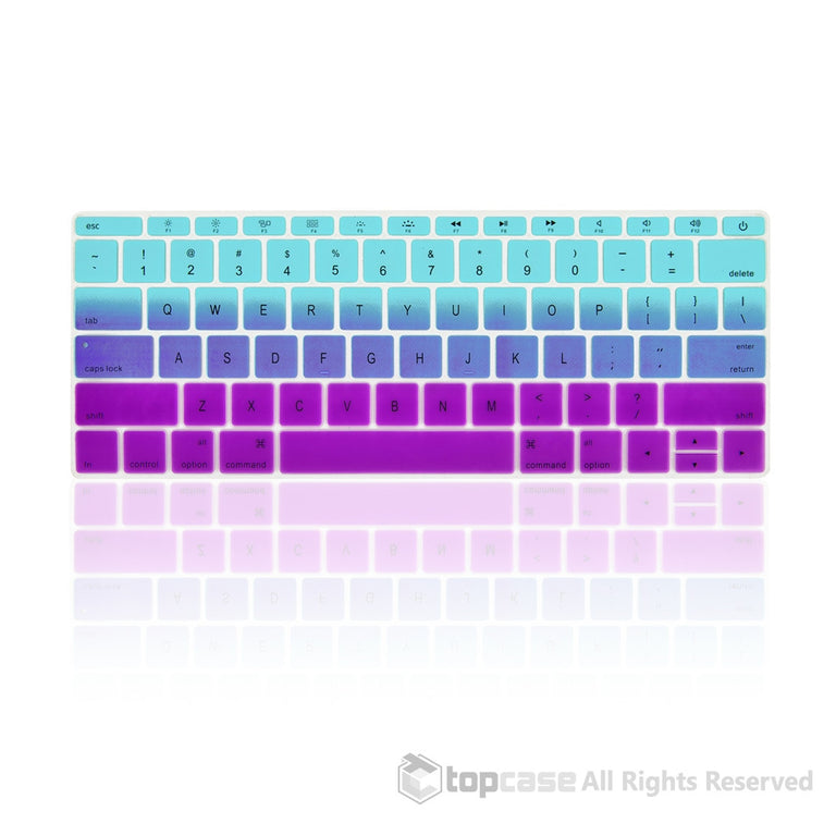 "Topcase Apple Macbook 12"" Light Blue & Purple Faded Ombre keyboard Cover for Macbook 12-inch with Retina Display Model A1534 / MacBook Pro 13 inch A1708 (No TouchBar) Release 2016"
