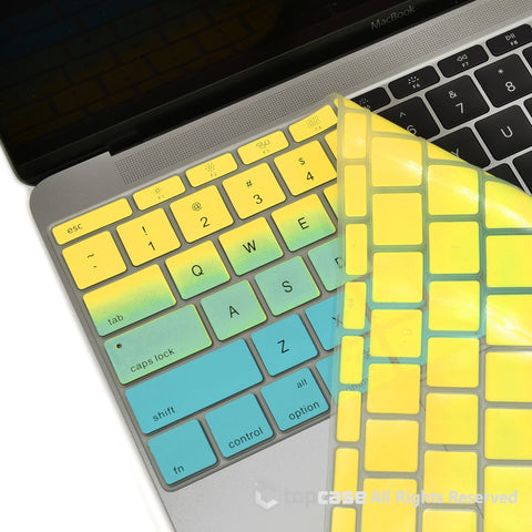 "Topcase Apple Macbook 12"" Yellow & Light Blue Faded Ombre keyboard Cover for Macbook 12-inch with Retina Display Model A1534 / MacBook Pro 13 inch A1708 (No TouchBar) Release 2016"