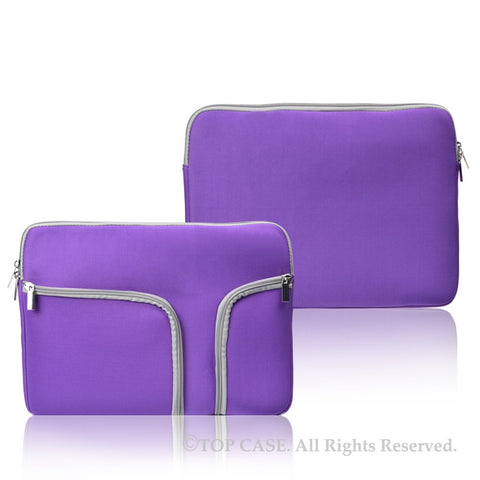 "Zipper Purple Sleeve Bag Cover with Handle and Pockets / Compartments for Macbook 12"" 12-Inch Model: A1534 Retina Noteboook"
