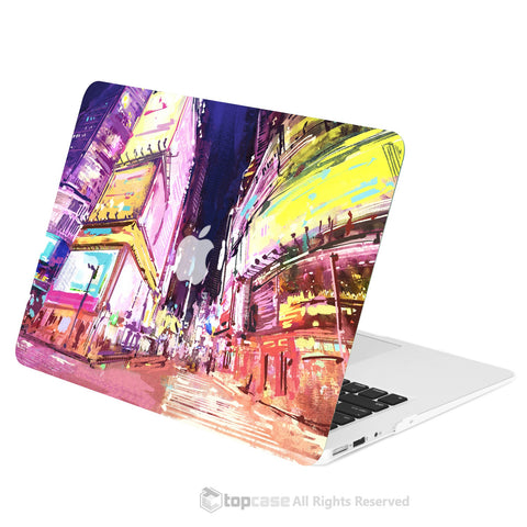 "TOP CASE - Art Printing Series Rubberized Hard Case Cover for Macbook Air 13"" - City Night Street"