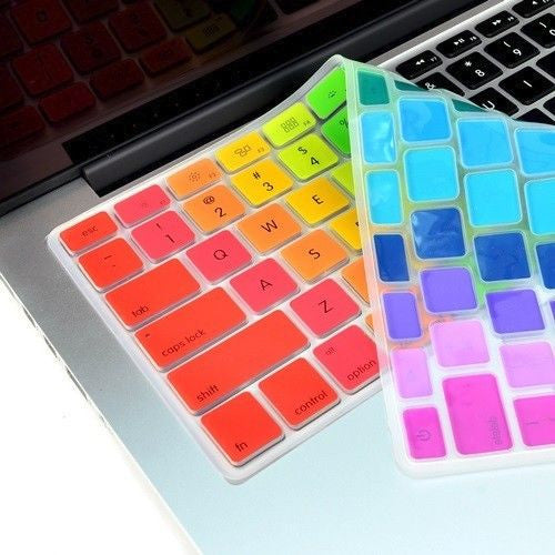 "Rainbow 14 Colors  Keyboard Cover for Macbook 13"" 15"" 17"""