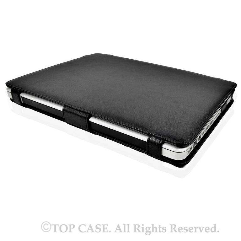 "Black Leather Case Cover with Foldable Stand for Apple Macbook PRO 13"" A1278 - TOP CASE"