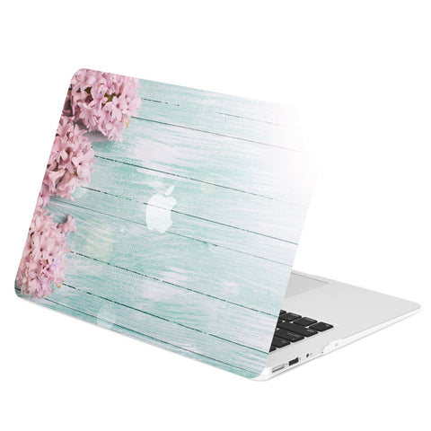 "Air 11-Inch Vibrant Summer Series Graphic Rubberized Hard Case Cover for Macbook Air 11"" Model: A1370 / A1465 – Pink Hyacinth Turquoise Wooden"