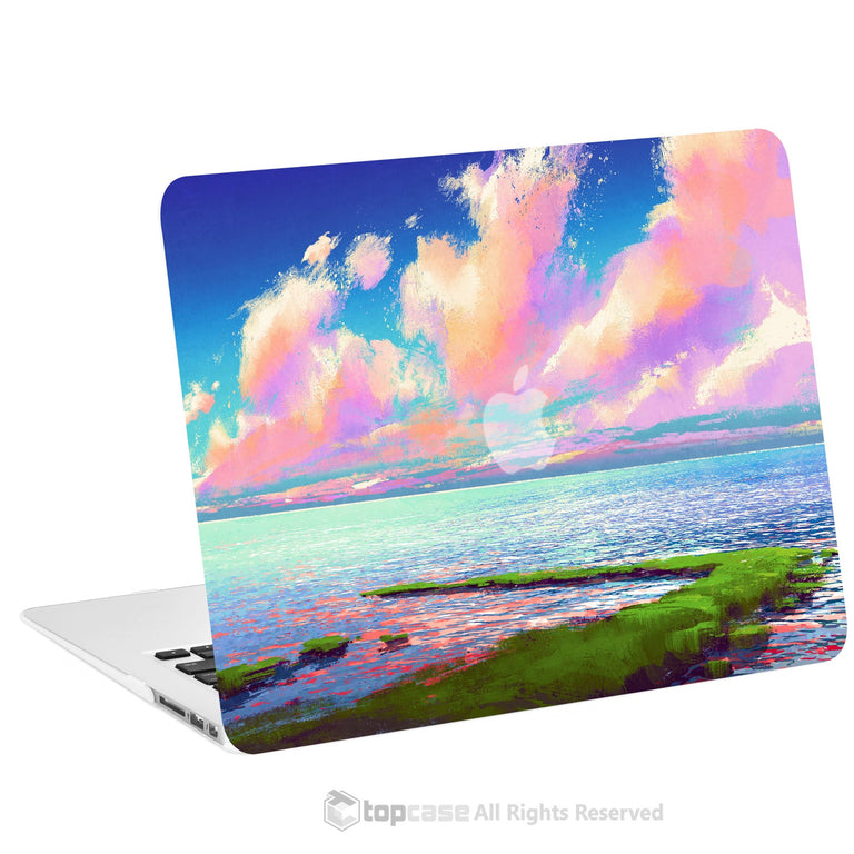 "TOP CASE - Art Printing Series Rubberized Hard Case Cover for Macbook Air 13"" - Cloudy Lakeside"