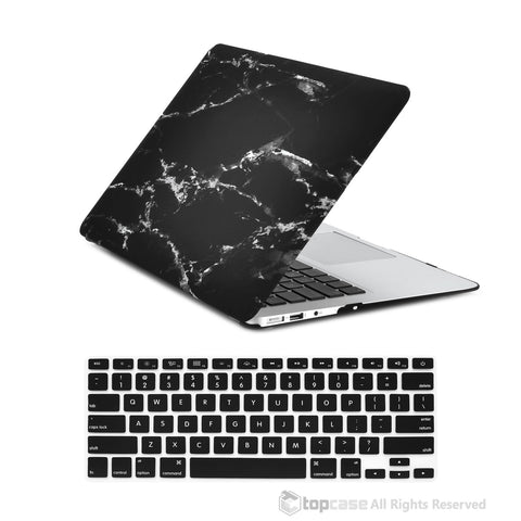 "TOP CASE 2 in 1 - MacBook Air 13"" Marble Rubberized Hard Case + Keyboard Cover - Black"