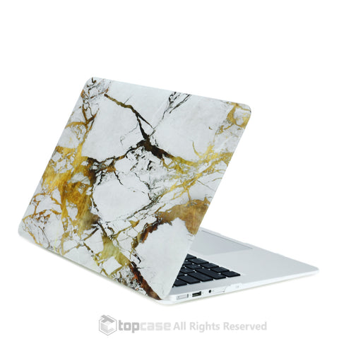 "White/Gold Marble Rubberized Hard Case for MacBook Air 11"" Model: A1370 and A1465"