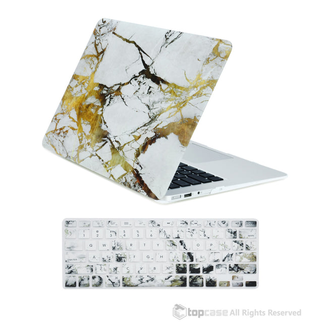 "TOP CASE 2 in 1 - MacBook Air 13"" Marble Rubberized Hard Case + Keyboard Cover - White/Gold"