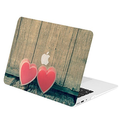 TOP CASE - Two Hearts on Wooden Graphic Rubberized Hard Case Cover for MacBook Air 13""
