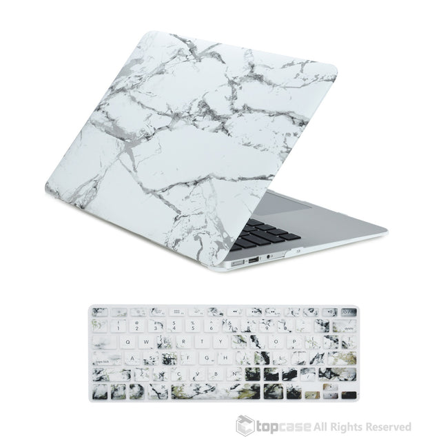 "TOP CASE 2 in 1 - MacBook Air 13"" Marble Rubberized Hard Case + Keyboard Cover - White"