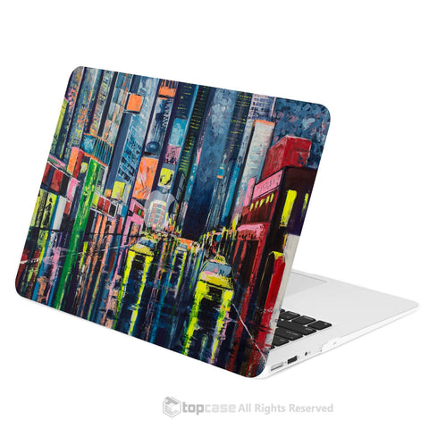 "TOP CASE -  Art Printing Series Rubberized Hard Case Cover for Macbook Air 13""  - Raining City Night"