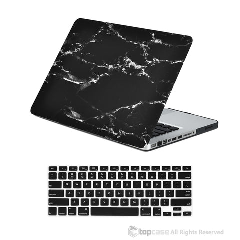 "TOP CASE 2 in 1 - Macbook Pro 13"" Marble Matte Case + Keyboard Skin - Black"