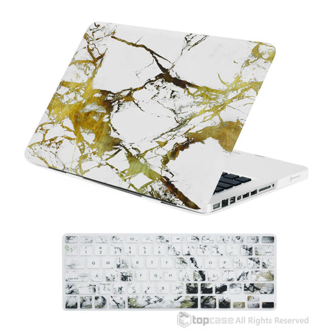 "TOP CASE 2 in 1 - Macbook Pro 13"" Marble Matte Case + Keyboard Skin - White/Gold"
