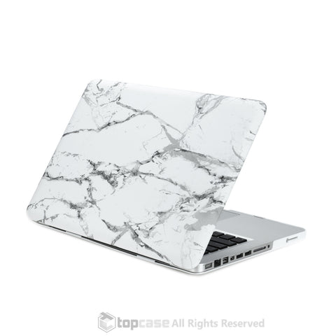 White Marble Rubberized Hard Case for MacBook Pro 13""