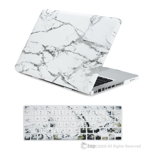 "TOP CASE 2 in 1 - Macbook Pro 13"" Marble Matte Case + Keyboard Skin - White"