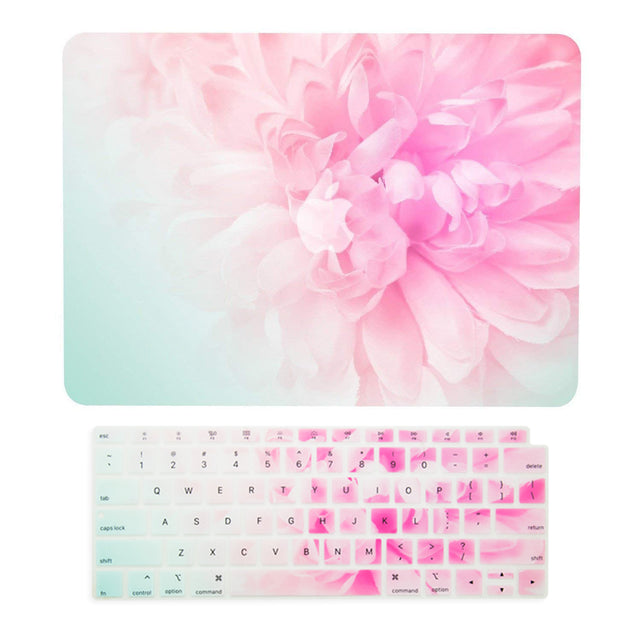 TOP CASE – 2 in 1 Floral Pattern Rubberized Hard Case + Keyboard Cover Compatible with 2018 Release MacBook Air 13 Inch with Retina Display fits Touch ID Model: A1932 - Pink Peony
