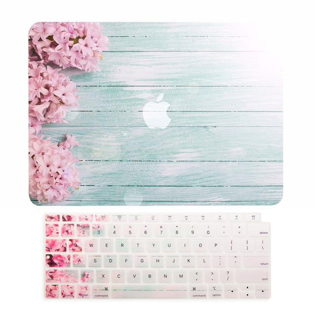 TOP CASE – 2 in 1 Floral Pattern Rubberized Hard Case + Keyboard Cover Compatible with 2018 Release MacBook Air 13 Inch with Retina Display fits Touch ID Model: A1932 - Pink Hyacinth