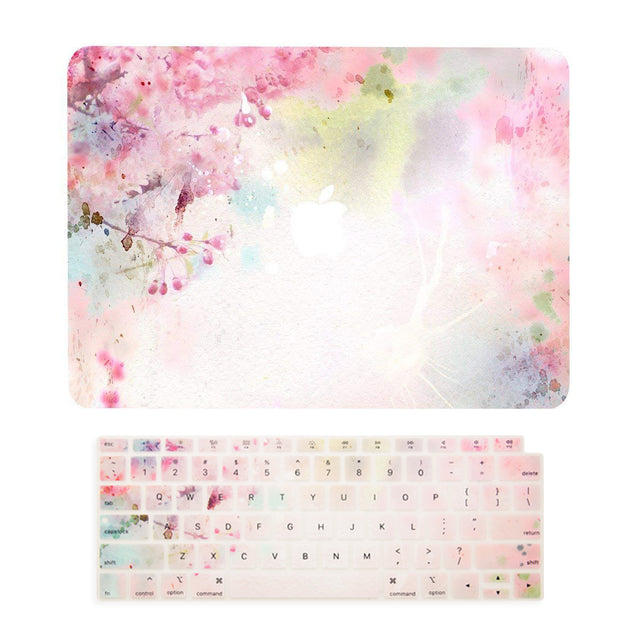 TOP CASE – 2 in 1 Floral Pattern Rubberized Hard Case + Keyboard Cover Compatible with 2018 Release MacBook Air 13 Inch with Retina Display fits Touch ID Model: A1932 - Cherry Blossom