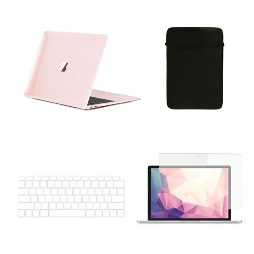 TOP CASE 4 in 1 Bundle - Crystal Hard Case, Keyboard Cover, Sleeve, Screen Protector Compatible with 2018 Release MacBook Air 13 Inch with Retina Display fits Touch ID Model: A1932 - Crystal Clear