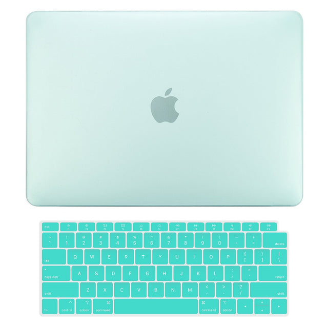 TOP CASE - 2 in 1 Rubberized Hard Case + Keyboard Cover Compatible with 2018 Release Apple MacBook Air 13 Inch with Retina Display fits Touch ID Model: A1932 - Green